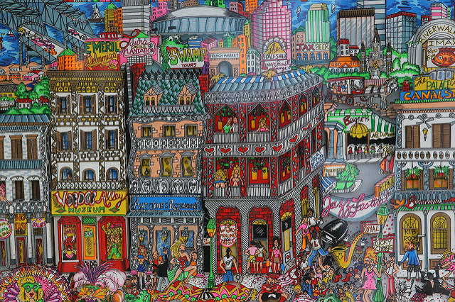 A colorful painting of downtown New Orleans' vibrant culture and heritage.
