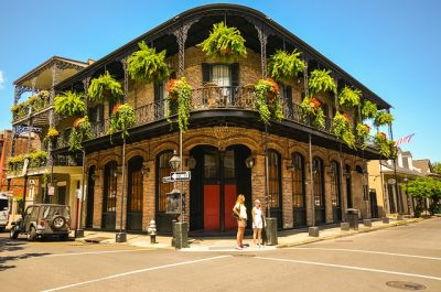 New Orleans French Quarter historic district with iron gallery.